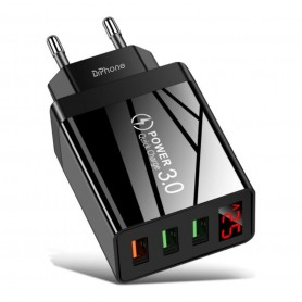 DrPhone HALO8 - USB adapter met 3 poorten + LED Voltage Indicator - USB Oplader - 30W - Quick Charger 3.0 - Zwart