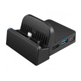 DrPhone NSD3 - TV Docking Station voor de Nintendo Switch – Oplaadstation HDMI – USB Poorten + USB-C - Reizen - Zwart