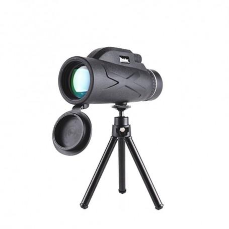 DrPhone - ALPHA3 Telescoop 80x100 BAK4 Verrekijker - 10x Zoom - Handheld + Statief + Smartphone Houder - Zwart