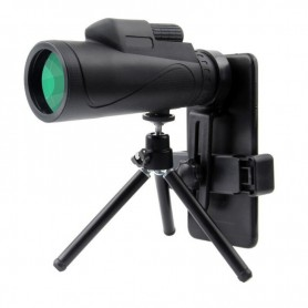 DrPhone - ALPHA4 Telescoop 12x50 BAK4 Verrekijker - 10x Zoom - Handheld + Statief + Smartphone Houder - Zwart
