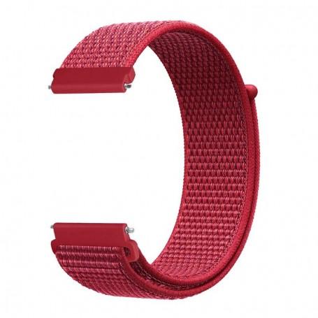DrPhone SWB2 - Universele 20mm Nylon Geweven Elastische Band met klittenband - Horlogeband – Armband – Rood