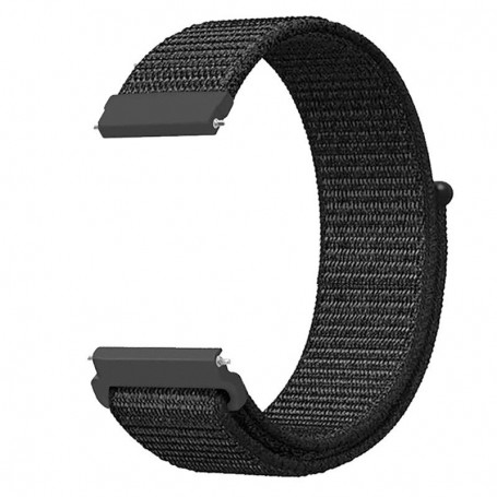 DrPhone NGQ Universele 20mm Nylon Geweven Elastische Band met klittenband - Horlogeband – Armband– Zwart