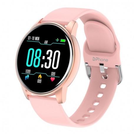 DrPhone DTX-3 – Ultra Slanke Smartwatch Voor Vrouwen – Hartslagmeter – Stappenteller – Sport horloge - Roze