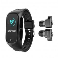 DrPhone DUALX6 - 2-In-1 Smart Watch / TWS Earbuds,Oordoppen + Horloge - Fitness Tracker, Bluetooth 5.0 Headphones - Zwart