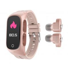 DrPhone DUALX6 - 2-In-1 Smart Watch / TWS Earbuds,Oordoppen + Horloge - Fitness Tracker, Bluetooth 5.0 Headphones - Roze