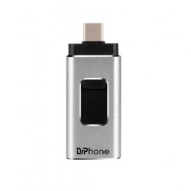 DrPhone EasyDrive - 512GB - 4 In 1 Flashdrive - OTG USB 3.0 + USB-C + Micro USB + Ligtning iPhone - Android - Zilver