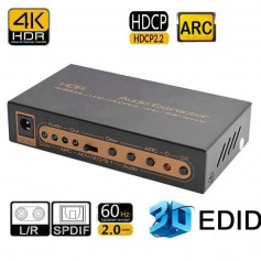 DrPhone HA5 HDR HDMI-audio-extractor -4K@60Hz/UHD/HDCP2.2/ARC/EDID -Toslink-audio + coaxiale audio & L/R-audio-uitgang
