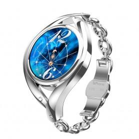 DrPhone Ladies ART - Smartwatch Vrouwen - Luxe Armband - Ultradunne Slimme Horloge - Hartslagmeter - Stappenteller - Zilver