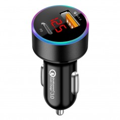 DrPhone QC 3.0 Pro - Qualcomm 3.0 Fast Charge 36W Auto Oplader - (USB-C Female + USB QC 3.0) - Smartphones - Zwart