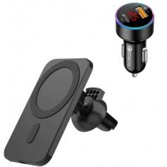 DrPhone CM16 - Draadloze Auto Oplader - 15W Lader - iPhone 12 / 13 / Pro / Max / Mini - DrPhone QC 3.0 Pro - Autolader