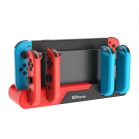 DrPhone NSD6 - 6 in 1 Dock - Oplaad Station – Geschikt voor Nintendo Switch – Joycon's / Game-slots & USB 2.0– Zwart