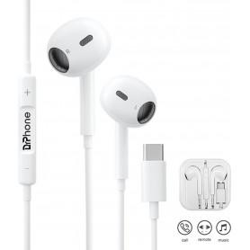 DrPhone HiFi4 PRO - USB-C Oordopjes – Microfoon – Oordoppen met Volume Controle - Geschikt voor Huawei / Samsung – Wit