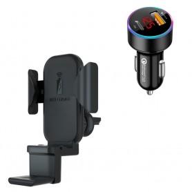 DrPhone Smart Sensor V5® 10W 3 In 1 Draadloos Qi Autolader + Houder - Ook geschikt voor Airpods 1/2 & Apple Watch - Zwart