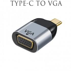 DrPhone UCE3 - USB-C naar VGA - Thunderbolt 3 - VGA Adapter – Converter – Zwart/Zilver