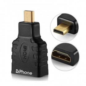 DrPhone MHH1 - Micro HDMI Naar HDMI Adapter – 1080P – Verguld - Zwart