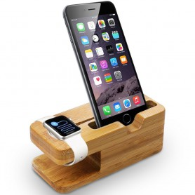 Apple Watch 38mm en 42mm Bamboo Houten Stand Houder / iPhone 6 / 6 Plus en iPhone 5S/5/5C