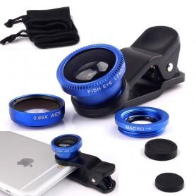 3-in-1 Fish Eye 180° Lens / Wide Lens / Macro Lens Universeel Compact Blauw Universeel Tablet/Smartphone
