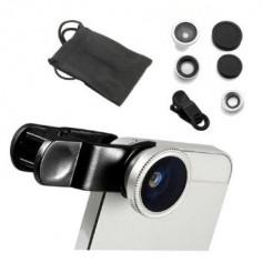 3-in-1 Fish Eye 180° Lens / Wide Lens / Macro Lens Universeel Compact Zilver Universeel Tablet/Smartphone