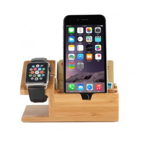 2 in 1 Bamboo Houten Houder met 3 USB poorten Voor Apple Watch 38mm & 42mm / iPhone 6 & 6 Plus / iPhone 5