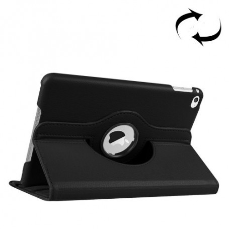 DrPhone Draaibare 360° PU Lederen Cover iPad Mini 4/5 Zwart