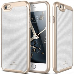 Caseology® Envoy Series iPhone 6S / 6 Plus Carbon Fiber White + iPhone 6S / 6 Plus Screenprotector