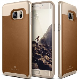 Caseology® Envoy Series Samsung Galaxy S6 Edge Plus Leather Brown + 1 Gratis S6 Edge Plus Screenprotector